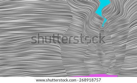 Rendering of stylized canyon of strip pattern.