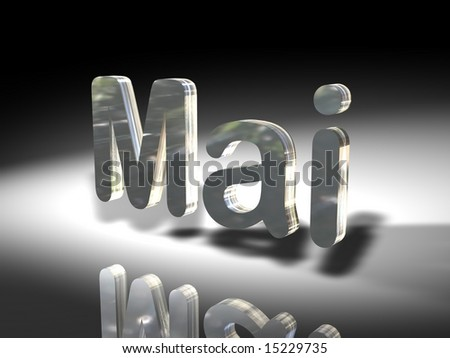 "Rendering of the german word for ""May"". Light and shadows."