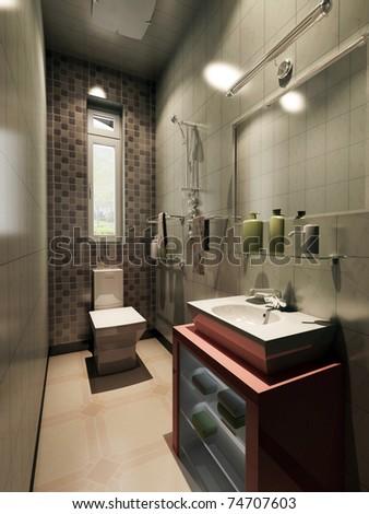 rendering of the modern bathroom interior - stock photo