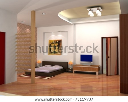 rendering of the modern bedroom