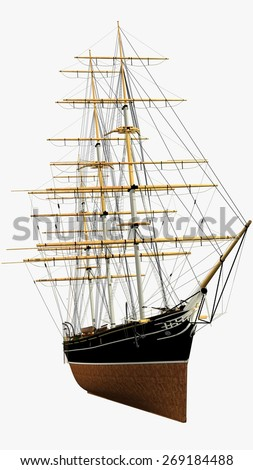 "Rendering of the XIX Century British Clipper ""Cutty Sark"" - Fast ship mainly used within England and Australia as a freighter for Tea and Cotton. Vessel presently located in London - Greenwich."