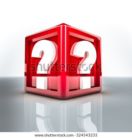 Rendering of two question mark on a red cube