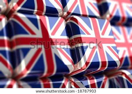 Rendering of union jack as cubes - stock photo