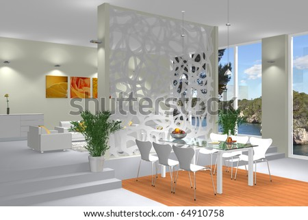 Rendering showing a modern interior scene with open living and dining room - stock photo