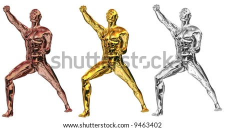 Rendering. Statues in Karate Pose in Bronze,Silver and Gold. Isolated on white background.