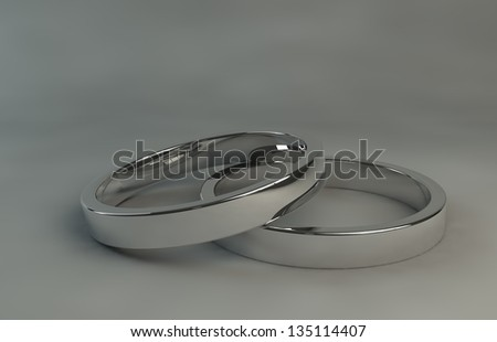 rendering white silver wedding rings
