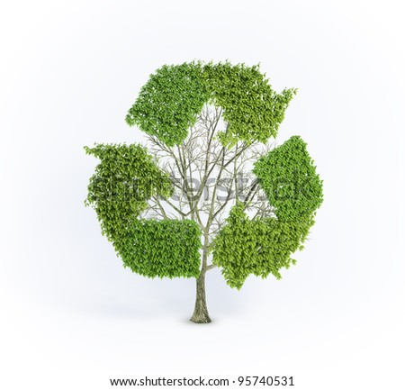 Renewable development concept - tree with the recycling symbol - stock photo