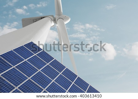 Renewable energies solar photovoltaic panel and windmill for electric energy - stock photo