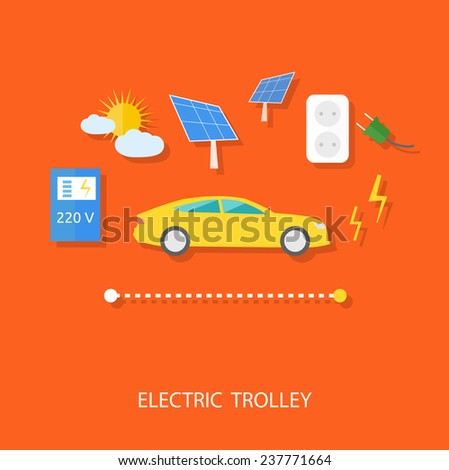 Renewable energy concept for electric car with solar panel, battery, socket and plug flat design. Raster version - stock photo