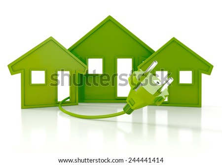 Renewable energy concept. Green house with socket. 3d Illustration isolated on white background - stock photo