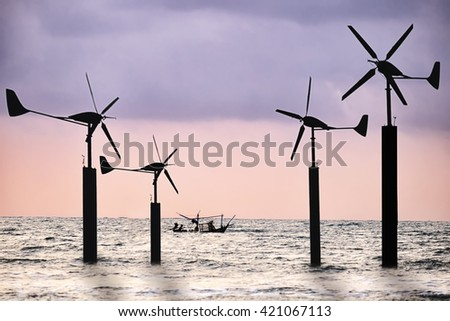 Renewable energy concept. Offshore wind turbines, clean energy background