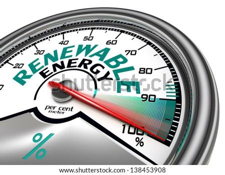 renewable energy conceptual meter indicate hundred per cent, isolated on white background - stock photo