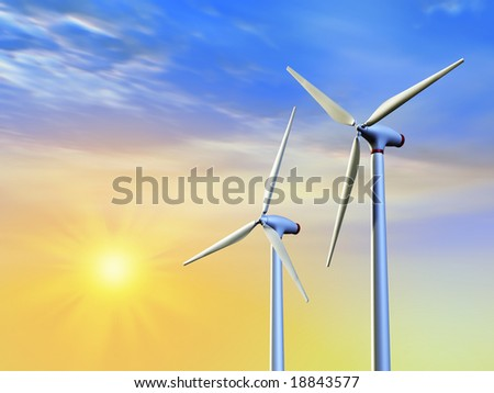 Renewable energy from sun and wind. Digital illustration.