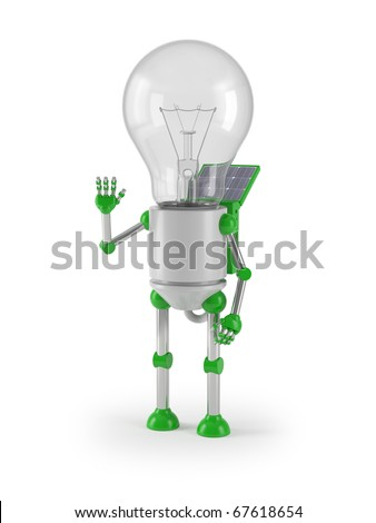 renewable energy - light bulb robot greeting - stock photo