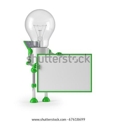 renewable energy - light bulb robot sign - stock photo