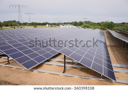 Renewable energy, light of the sun panel - stock photo