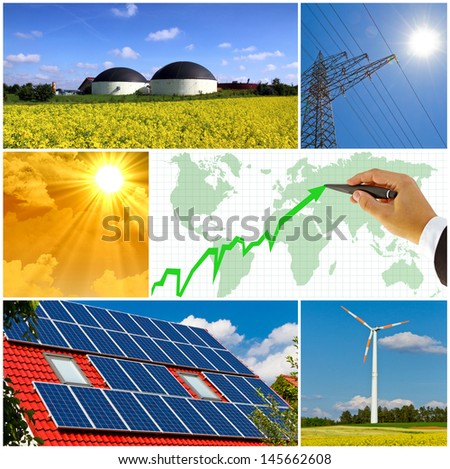 Renewable energy - photo collage - stock photo