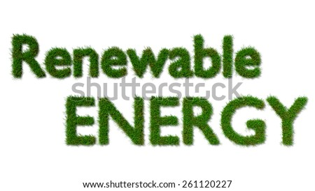 renewable energy sign on grass - ecology concept
