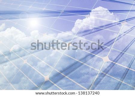 Renewable energy, solar panels composition  /  Composition of solar panels - stock photo