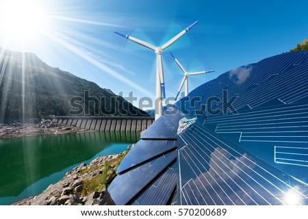 Renewable Energy Sunlight Solar Panel Wind Stock Photo