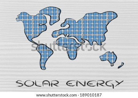 renewable energy: the world as covered in photovoltaic panels
