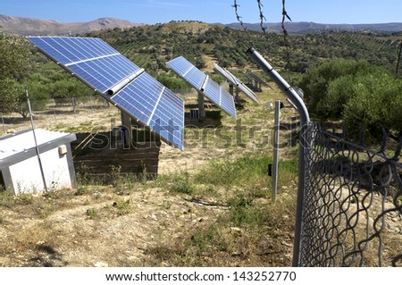 Renewable energy through solar cells in the mountain regions in Crete - stock photo