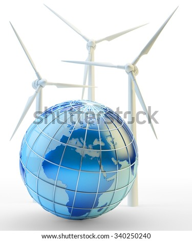 Renewable power and energy generation concept, wind turbines and blue Earth globe isolated on white (Elements of this image furnished by NASA) - stock photo