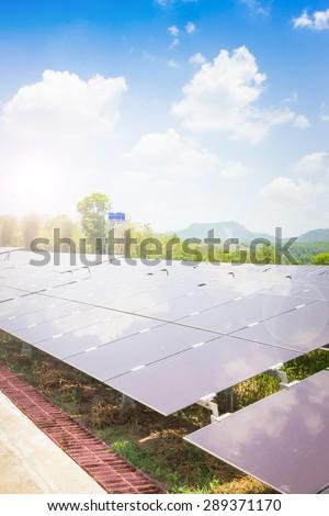 renewable solar energy Power plant : The concept of renewable energy. Clean energy Environmentally friendly The solar farm is a module of Tin film. - stock photo