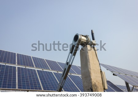 renewable solar energy Power plant : The concept of renewable energy. Clean energy Environmentally friendly The solar farm With Tracking System. - stock photo