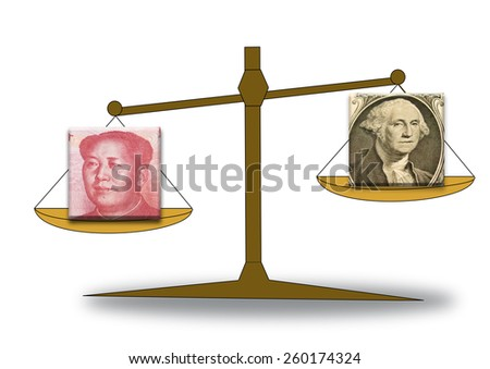 Renminbi and US dollar on a scale, showing rising US dollar - stock photo
