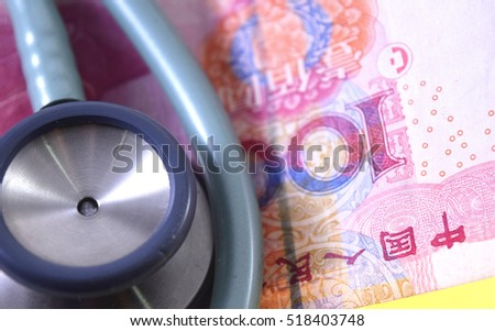 renminbi with a stethoscope on it