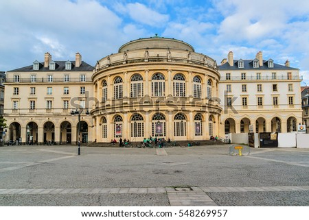 RENNES, FRANCE - JUNE 13, 2016: The Neo Classical Opera (architect Charles Millardet, 1836) de Rennes stands in the Place de la Mairie (Town Hall Square). Brittany.