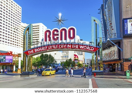 RENO - JUNE 17: The Reno Arch on June 17,2012 in Reno, Nevada. The original arch was built in 1926 to commemorate the completion of the Lincoln and Victory Highways. - stock photo