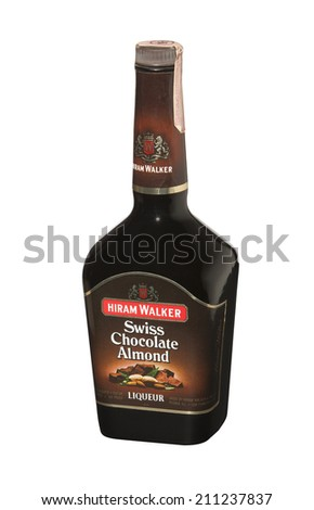 RENO, NEVADA - AUGUST 14, 2014: A bottle of Hiram Walker Swiss Chocolate Almond liqueur.  A sweet, nutty, chocolate liqueur with a smooth almond aftertaste used on ice cream and in mixed drinks.