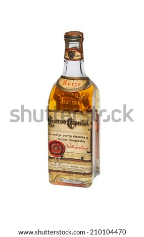 RENO, NEVADA - AUGUST 10, 2014: An unopened bottle of 75 year old Jose Cuervo Tequila, the national drink of Mexico.   - stock photo