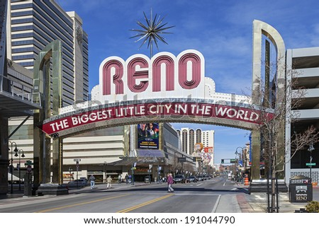 RENO, NEVADA - FEB 26, 2013: The Famous Arch (The Biggest Little City in the World) at Reno, Nevada. The Arch is lactated at Virginia Street. Reno is famous for casinos in Nevada. - stock photo