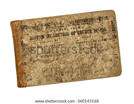RENO, NEVADA - January 8, 2016: An 1841 collection of church music published by the original Boston Academy of Music, the first music school of its kind in the United States. - stock photo