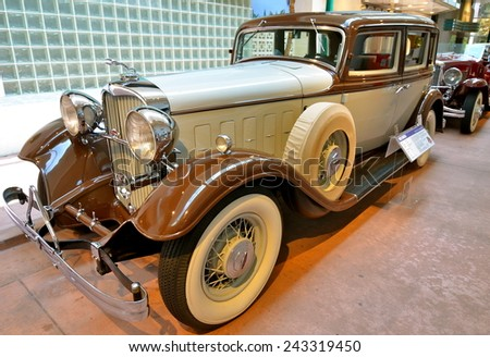 Reno, Nevada - May 29, 2014: Vintage cars in the National Automobile Museum, Reno, Nevada, USA. - stock photo