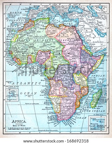 RENO, NEVADA OCTOBER 02, 2011:  A 19th century map of Africa showing the extent of European colonial territories and historic old world countries towards the end of the 19th century. - stock photo
