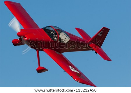 RENO, NEVADA   SEPTEMBER 16.  Bob Mills in his RV-6, which is called Rocket Six, during the Bronze Medal Sport race at the National Championship Air Races on September 16 2012 near Reno, Nevada.