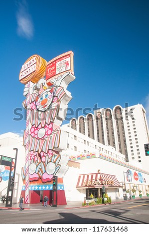 RENO - OCTOBER 16: Circus Circus Hotel and Casino clown neon sign on Virginia Street on October 16, 2011 in Reno, NV. This property opened in 1978 and features live circus acts. - stock photo