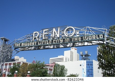 RENO - SEPTEMBER 22 : Original Virginia Street Arch on September 22, 2008 in Reno, NV. It was built in 1926 to promote the Nevada Transcontinental Highway Exposition and was replaced in 1963. - stock photo