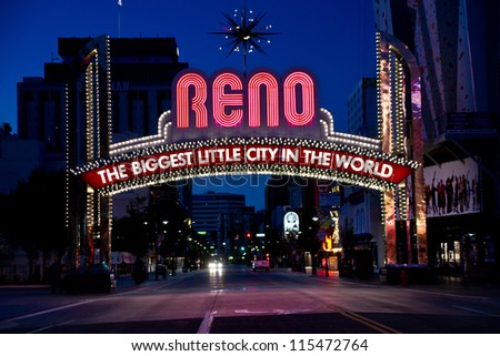 RENO - SEPTEMBER 10: The landmark arch over Virginia Avenue in downtown Reno, Nevada. The original arch was built in 1926 on Sept. 10, 2012 in Reno. - stock photo