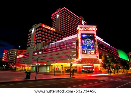 RENO, USA - AUGUST 12: Eldorado hotel and casino at night on August 12, 2014 in Reno, USA. Reno is the most populous Nevada city outside of the Las Vegas.