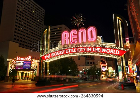 "RENO, USA - AUGUST 12: ""The Biggest Little City in the World"" sign over Virginia street at night on August 12, 2014 in Reno, USA. Reno is the most populous Nevada city outside of the Las Vegas."