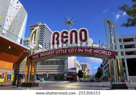 "RENO, USA - AUGUST 12: ""The Biggest Little City in the World"" sign  over Virginia street on August 12, 2014 in Reno, USA.  Reno is the most populous Nevada city outside of the Las Vegas."