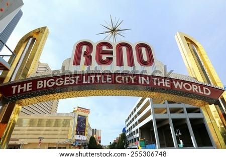 """RENO, USA - AUGUST 12: """"The Biggest Little City in the World"""" sign  over Virginia street on August 12, 2014 in Reno, USA.  Reno is the most populous Nevada city outside of the Las Vegas. - stock photo"""