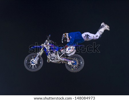 RENO , USA - JUNE 30 : unidentified rider giving FMX motorcross demonstration as part of the Reno Rodeo a Professional Rodeo held in Reno ,USA on June 30 2013