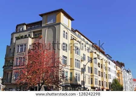 Renovated buildings line - stock photo