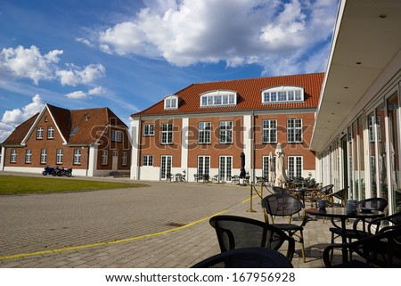 Renovated classical style city hotel to cater tourism Middelfart Denmark - stock photo
